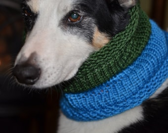 "Knit Dog Scarf/Cowl  Green and Blue  Size Medium -  14 Circumference by 18"" long  Fits a dog with up to 20"" Neck - Dog Clothing"