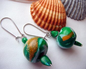 polymer clay blue/orange/green clear, green mother of pearl earrings