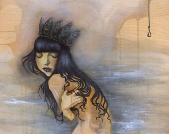 Sovereign Salmon - mermaid, abundance, giclee, fine art print, art by phresha, spiritual art, water protector, art on wood