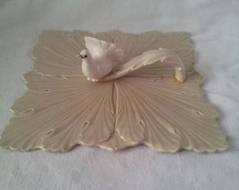 Vintage Ceramic Sage Green Leaf Serving Platter Tray With White Bird Handle