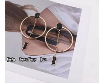 European Geometric Marble Earrings - black