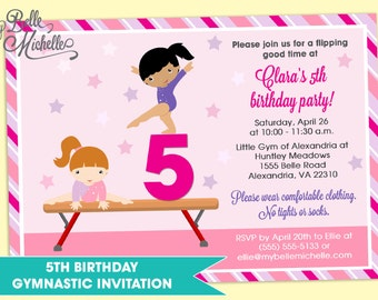 5th birthday - girl gymnastics birthday party invitation