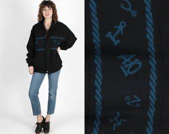 Pendleton Jacket Black Jacket Pendleton Coat Southwestern Jacket Vintage Wool Branding Symbol Native American Blanket Bomber Coat XL