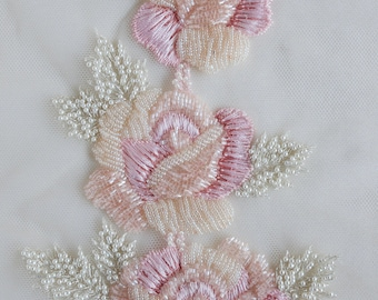 Hand-made applique with a bouquet of roses crafted with tiny beads and pearls