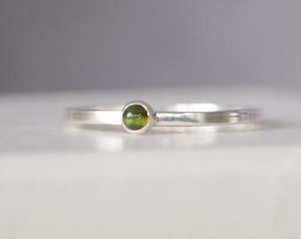 Tourmaline Ring -  Green Tourmaline - Sterling Silver - October Birthstone Jewelry - Tourmaline Jewelry - 3mm cabochon - Coloured Tourmaline