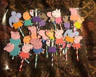 Peppa Pig cupcake toppers..peppa pig birthday party...peppa pig toppers..peppa pig party..set of 24