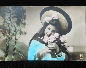 Vintage post card, French post card, girls romantic style