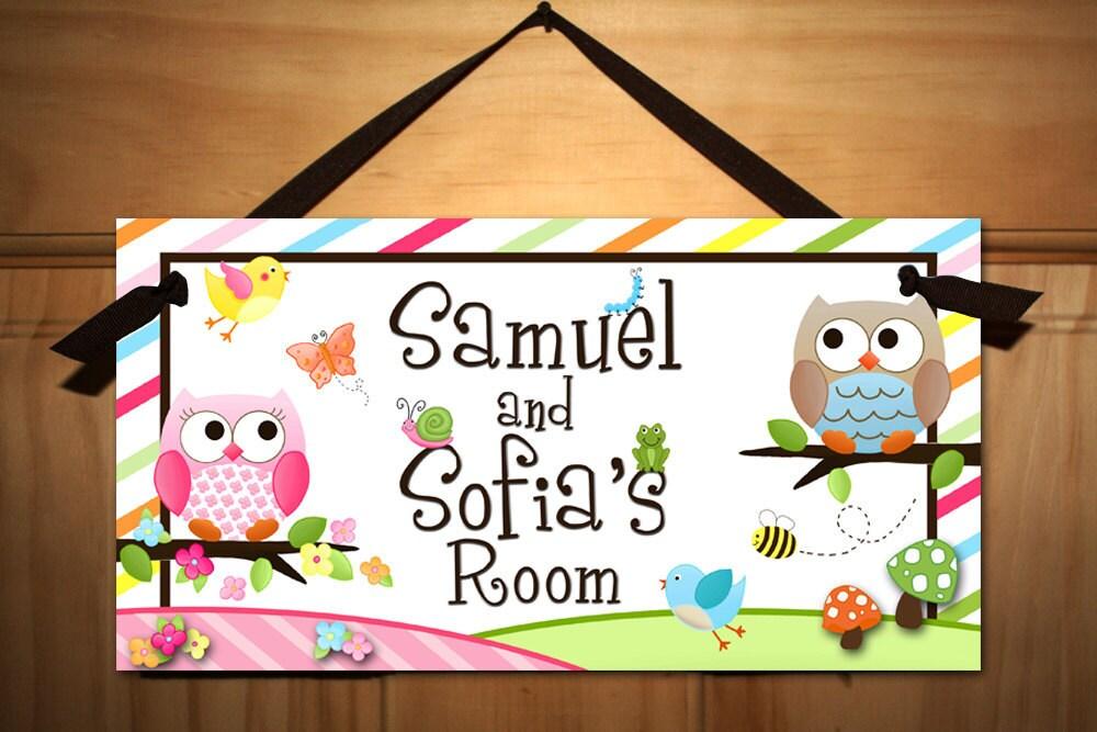 Twin Boy And Girl Owls Love Birdies And Stripes Door Sign