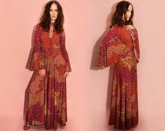 Floral Laceup Bell Sleeve Bohemian Maxi Dress XS S M L XL XXL