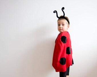 READY TO SHIP, Girl Halloween Costume, Ladybug Costume, Red Cape Costume, Ladybird Costume, Red Polar Fleece