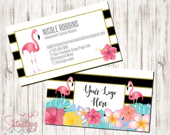 Custom Business Card, Small Business Owner, Boutique Business Cards, Tropical business cards, Flamingo Buisness Cards, inspired by LLR