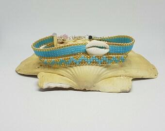 BOHEMIAN DOUBLE bracelet, bracelet, Cowrie shell, Seed beads.