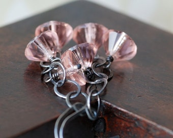 pretty in pink vintage glass sterling silver earrings