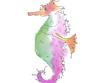 "SEAHORSE..Clipart / Digital Download / Hi Resolution of Original Watercolor . 8""x10"" Great for a multitude of applications."