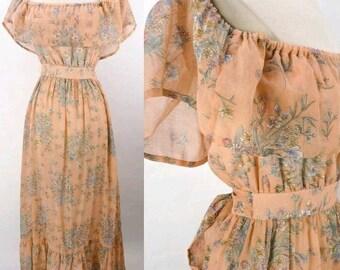 70s Floral print  dress, peasant dress