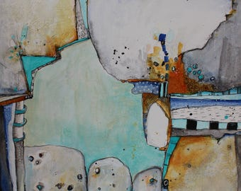 Beyond the Border Modern Illustrative   Abstract Zen Painting original art  by Jodi Ohl