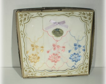New in Box Set of Three Embroidered Cotton Handkerchief from Switzerland
