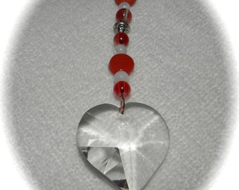 Sweetheart Ornament Love HEART Crystal Sun Catcher Ornament 30mm Red - Orange and White Beads Rainbows Feng Shui