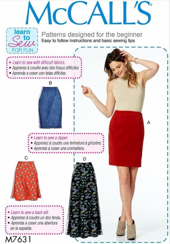Learn to Sew Skirt Pattern, Beginner Sewing Skirt Pattern, Straight ...