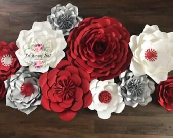12 Piece paper flower, Backdrop Decor, Nursery Decor, Large Paper flowers