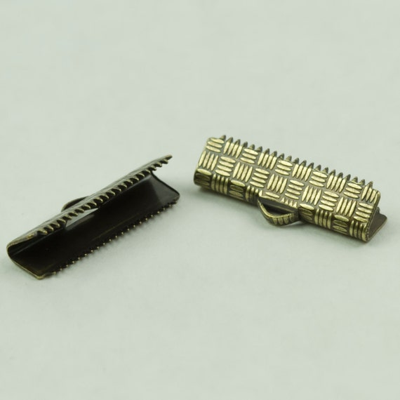 Clasp, 20mm Ribbon Crimp Clasp Brass in Color 1 set, 2 pieces Approx 3/4 inch