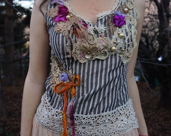 Memory of Aphrodite, Tatered couture beaded top UniqueBoho top Altered couture top Shabby chic blouse Bohemian gypsy top Victorian fairy top