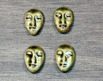 Set of Four Small Almond Ceramic Face Stone Cabochons in Earthy Green