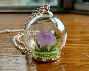 Amethyst Garden Terrarium Necklace