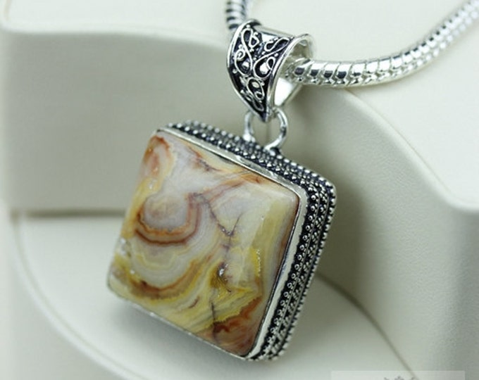 Crazy Lace Agate Vintage Filigree Setting 925 S0LID Sterling Silver Pendant + 4mm Snake Chain & FREE Shipping p3380