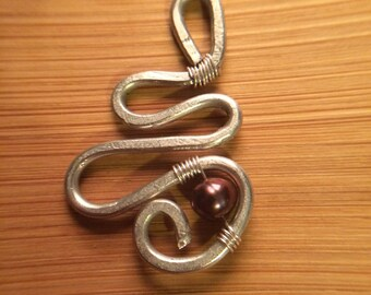 hand crafted silver pendant with pearl accent