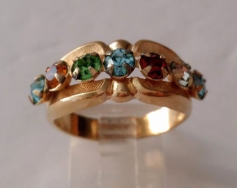 18k Electroplated Multi Stone Gold Mother's Ring