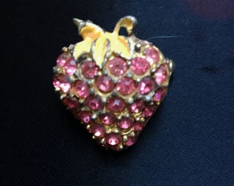Vintage Strawberry Brooch Pin with Pink Rhinestones