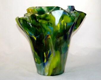 Geschmolzenen gekochten Glas Green Vase
