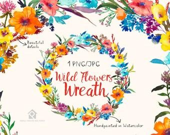 Wild Flower Watercolor Flowers CLIPART- Handpainted flowers, Wedding Florals,   Watercolor Flowers- Wild Flower Wreath