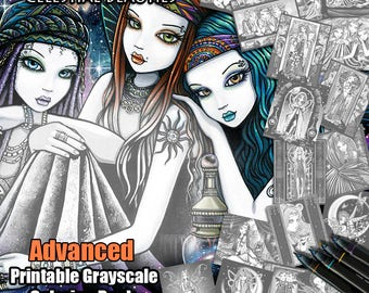 Set 3 - ADVANCED GRAYSCALE - Printable Coloring Book - Celestial Beauties - Myka Jelina - Fairy Coloring Book - 17 Pages - Download