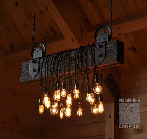 Rustic Light Industrial Chandelier Rope Pulley Yoke Wood Metal: The Farm Beam Wood Plank Pulley Chandelier