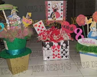 Alice in Wonderland Centerpieces Mad Hatter Red Queen Queen of Hearts