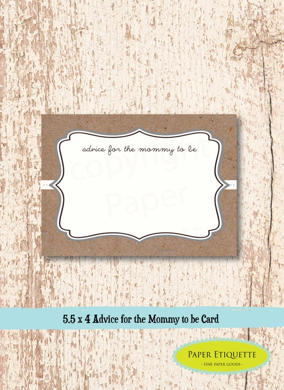 Amazing INSTANT UPLOAD Baby Shower Game Advice Cards For The Mom To Be