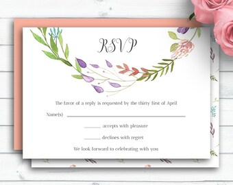 Boho Wedding RSVP Card, Customized Wedding Insert Cards, Personalized Response Card, Wedding RSVP Insert, Rustic Watercolor Flowers