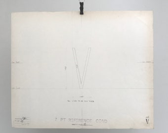 Letter V, 1967 original font casting drawing, typographic drawing, type design. Collectable typography.