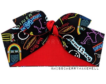 Rock n Roll Neon Lights Diner Rockabilly Vintage 1950's Inspired Reversible Head Scarf Hair Tie Headscarf Hair Bow by Miss Cherry Makewell