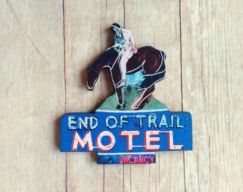 Cowboy Brooch Neon Motel Retro Country Western