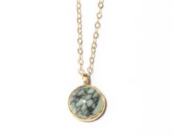 Stone of Truth Necklace   10mm Variscite Necklace   Gold or Sterling Silver Variscite Stone Necklace