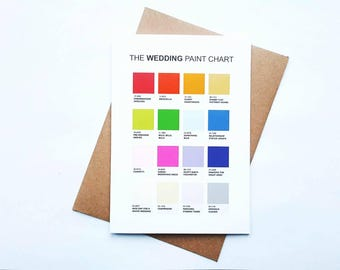 The Wedding Paint Chart, wedding card, funny wedding card, funny hen do card, alternative wedding card