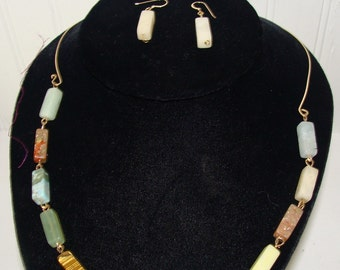 Polished Stone Necklace and Gold Wire Earring Set