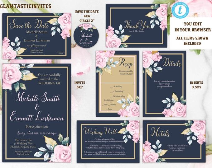 Pink Navy Blue Gold Rose Wedding Invitation Template, Blue and Gold Wedding Invitation Template, Editable, Wedding invitation Suite, Formal