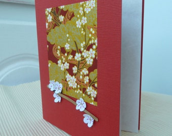 Elegant Handmade Blank Card With Cherry Blossom Chiyogami, Paper Blossoms and Bamboo