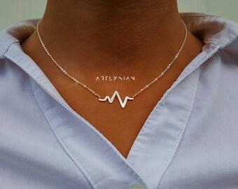 Nurse jewelry Nurse gift Heartbeat jewelry Nurse necklace medical jewelry Ekg necklace Gift for nurse Medical student gift Doctor nursing