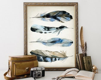 Blue Jay Watercolor Feathers Wall Art Print #2 - Modern Home Decor - Bird Feather Giclee Poster - Watercolour Painting Art