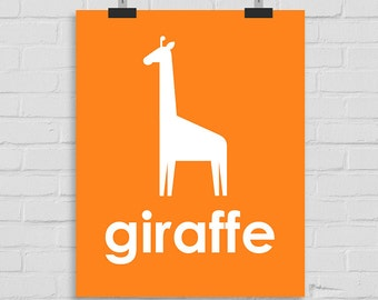 Giraffe Art Print, Jungle Wall Art Nursery Art, Kids Wall Art, Playroom Art, Childrens Art, Modern Nursery Print, Giraffe Art, Printable Art